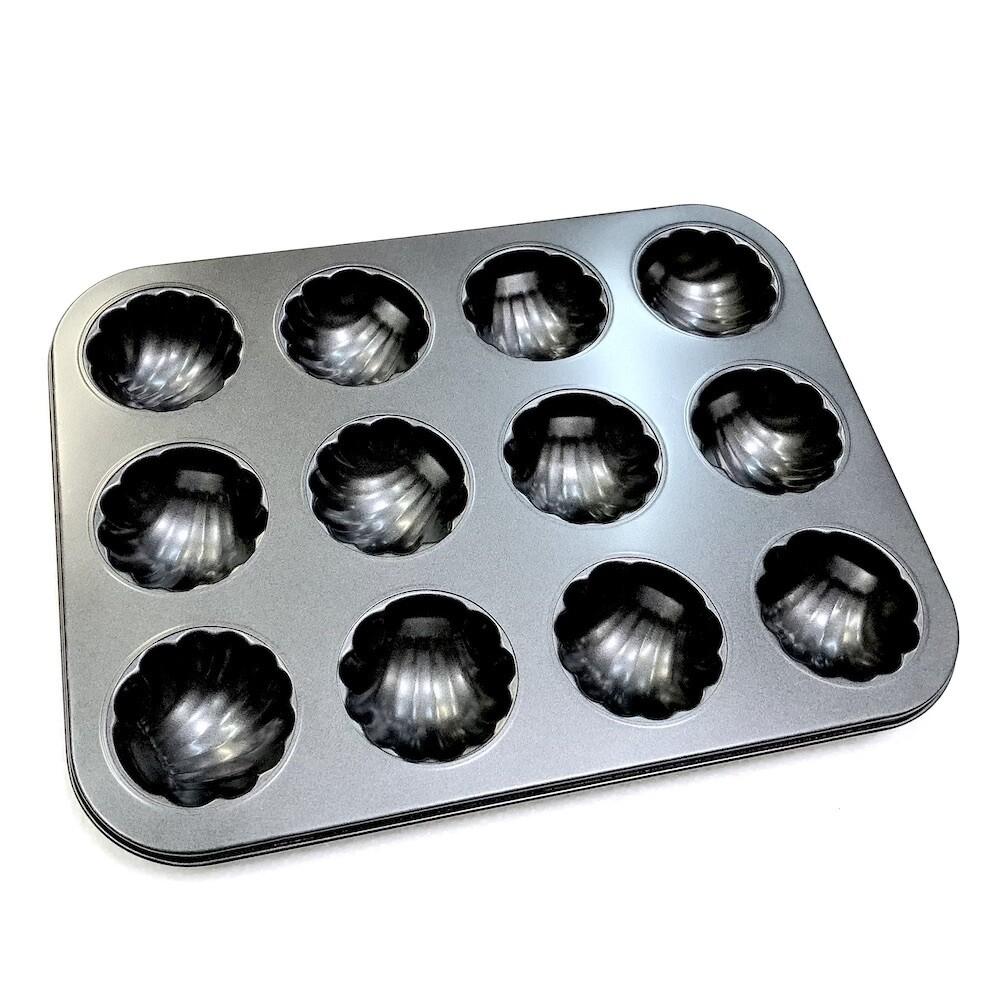 Форма для выпечки металлическая антипригарная   12 кексов - Ракушка