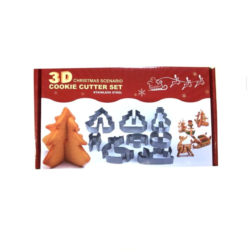 Вырубка Стальная Рождество | 3D набор 8 фигур