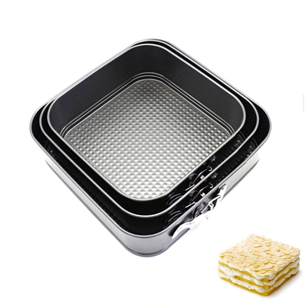Форма для выпечки металлическая разъёмная антипригарная | Квадрат набор 3 шт: 20 - 28 см, высота 7 см