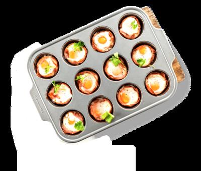 Форма для выпечки металлическая антипригарная   12 кексов - kitchen aid