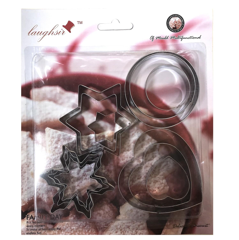 Вырубка стальная Сердце, Цветок, Снежинка, Кольцо 3-6 см | Набор 12 фигур