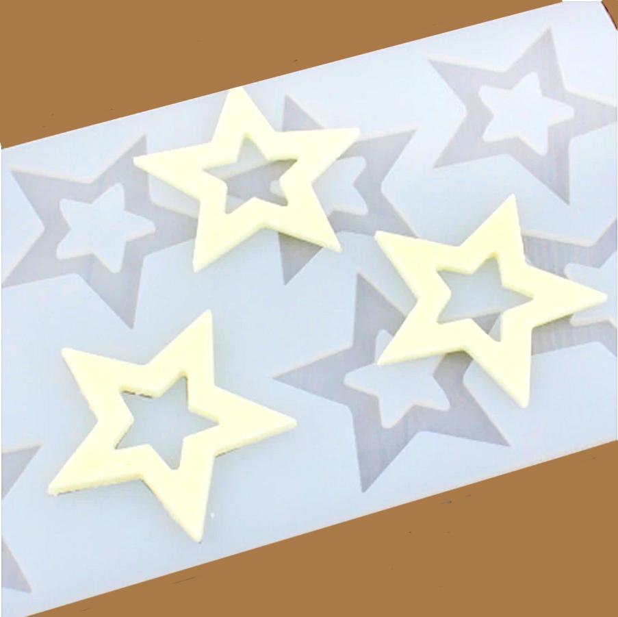 Силиконовая форма для шоколада-мастики-карамели 6 фигур Звёзды 220*110*3 мм