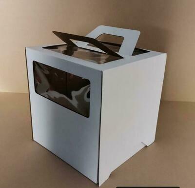Коробка ручками и окном для торта 28*28*30 см Белая | упаковка 5-25 шт