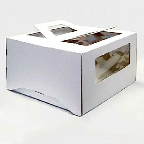 Коробка ручками и окном для торта 30*30*19 см Белая | упак 5-25 шт