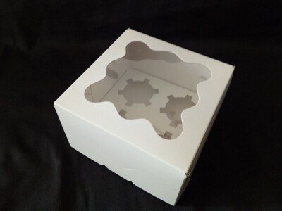 Коробка с окном для 4 капкейков 16*16*10 cм | Белая