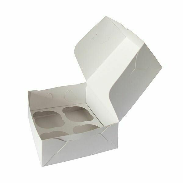 Коробка для 4 капкейков 16*16*10 cм   Белая