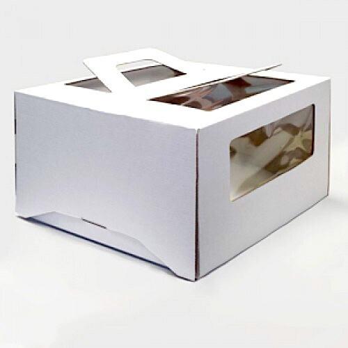 Коробка ручками и окном для торта 30*30*19 см Белая   упак 5-25 шт