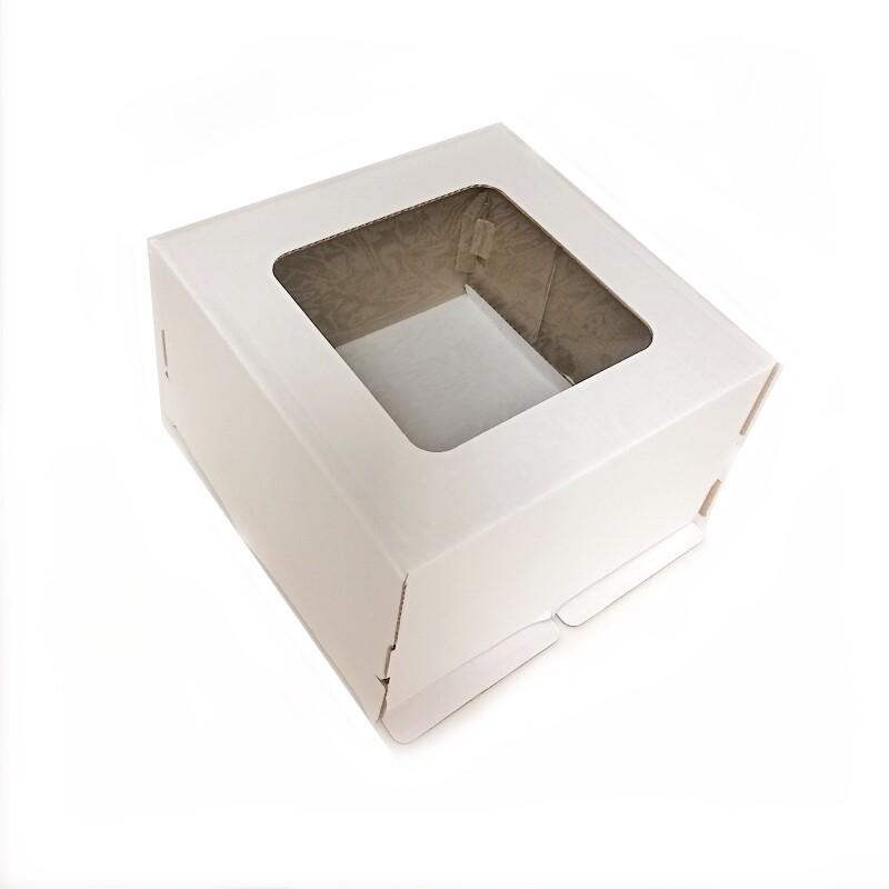 Коробка с окном для торта 30*30*19 см Белая   упак 10-50 шт
