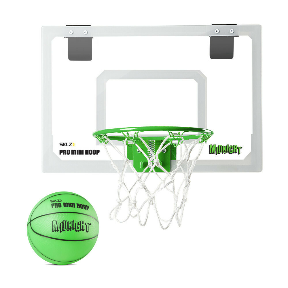 SKLZ Pro Mini Basketball Hoop Glow in the Dark with Green Ball