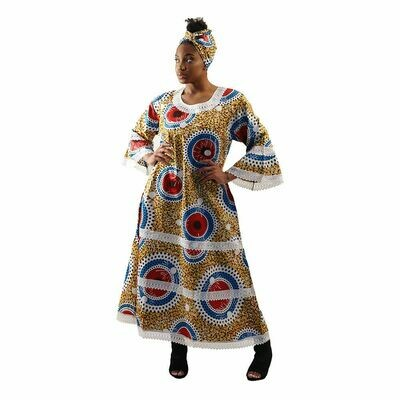 African Print Gown w/Lace