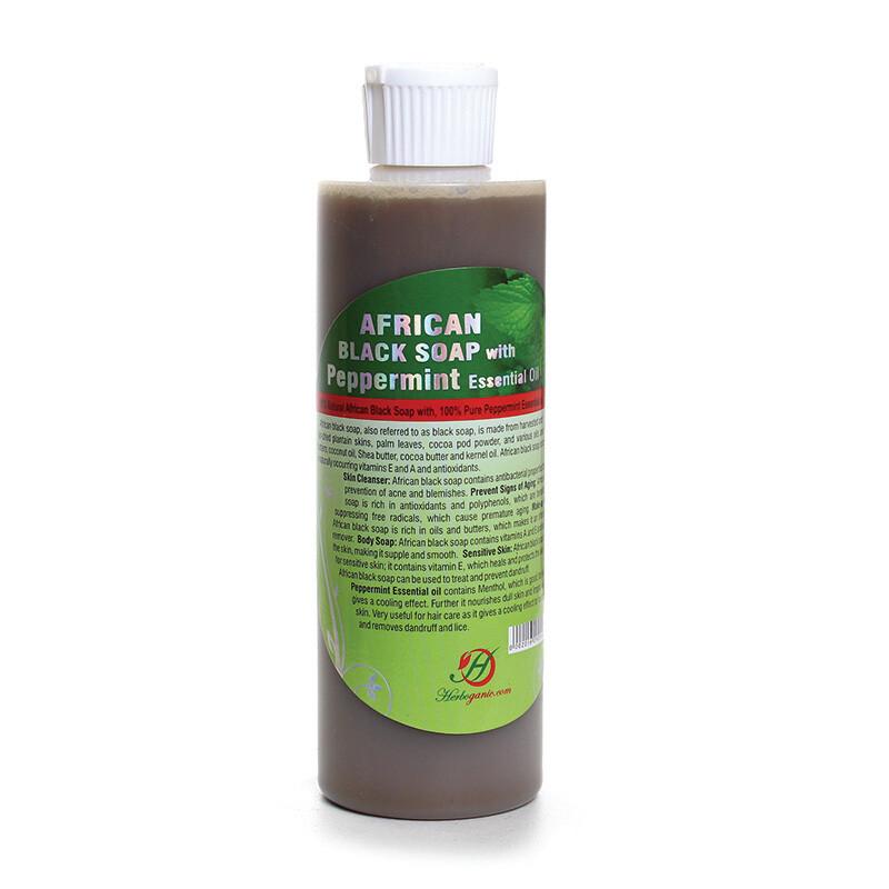 Peppermint Liquid Black Soap