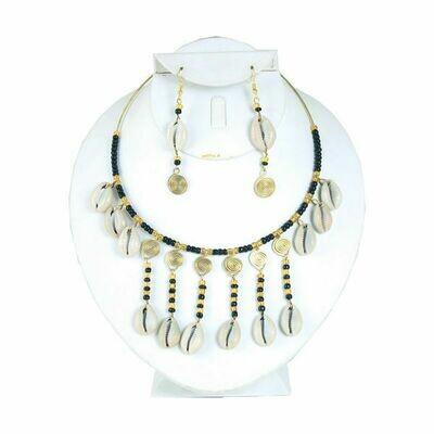 Cowrie Shell Bead & Brass Choker Set