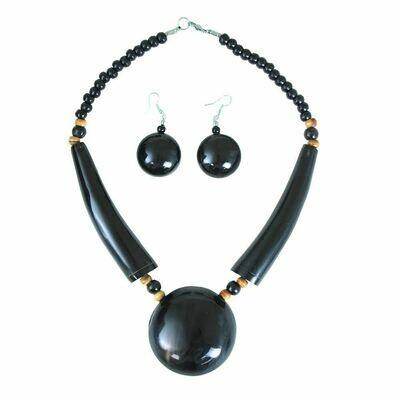 Black Massive Bone Pendant Necklace Set