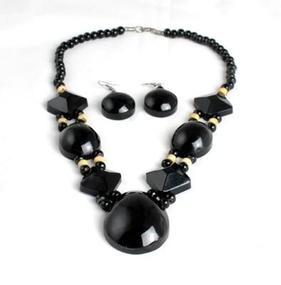 Obsidian Bone Beaded Necklace Set