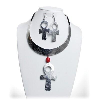 Metal Choker & Earrings: Ankh