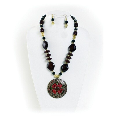 Sacred Ruby Necklace & Earrings