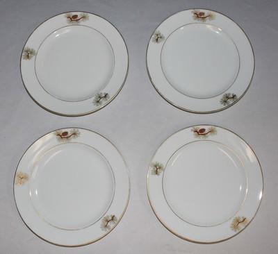 """Set of 4 Fukagawa Arita Pine Needles and Cones 7.5"""" Salad Plates #504"""