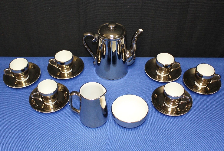 Royal Worcester 16 Pc. Silver Luster Teapot, Sugar, Creamer, Demitasse & Saucers
