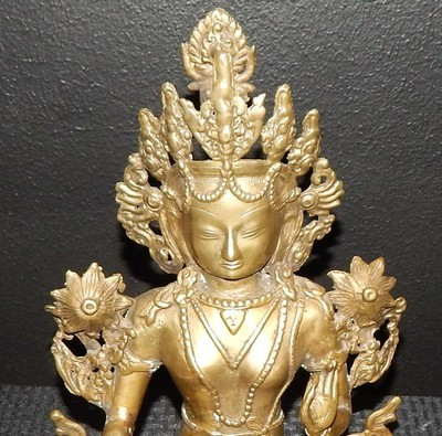 """Antique Bronze 14"""" Tibet Dynasty Figure Statue Seated on Lotus Base"""