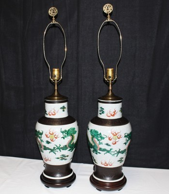 Pair of 20th Century Chinese Hand Painted DRAGON Vase Lamps w/ Brass Finials