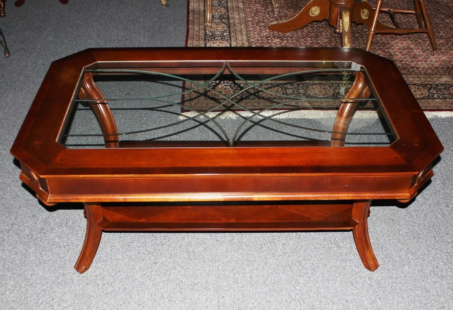 Maitland Smith Mahogany Satinwood English Style Coffee Table w/Etched Glass Top