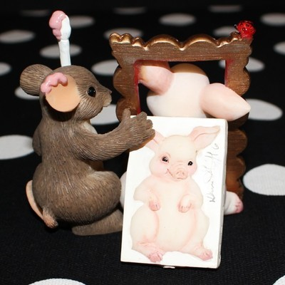Charming Tails Fitz & Floyd You're a Work of Art Mouse and Pig Figurine #89/177