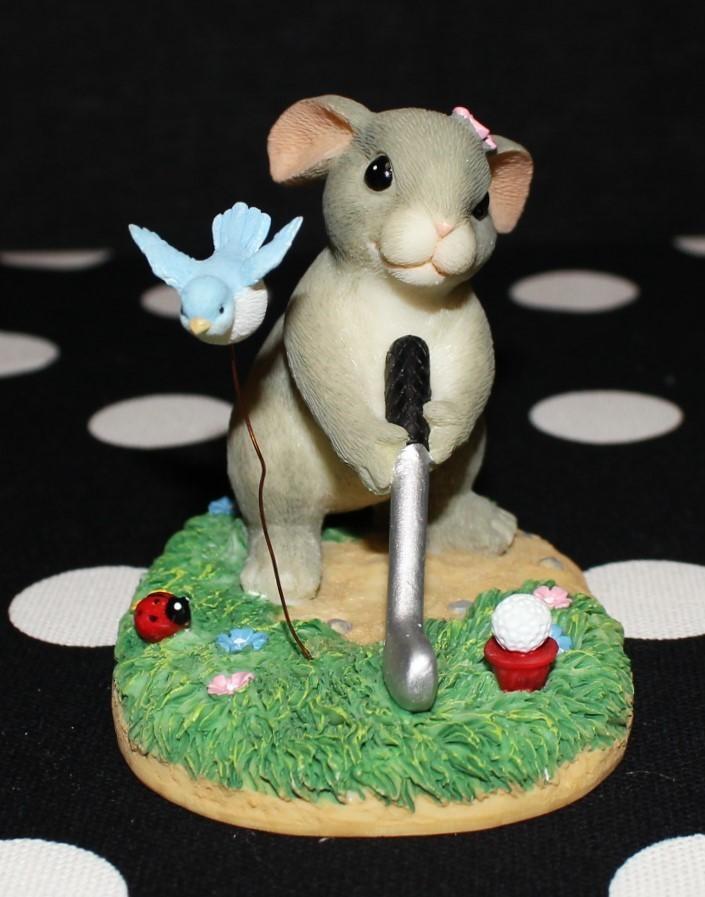 Charming Tails Fitz & Floyd Keep Your Eye on Birdie Rabbit Golf Figurine #87/803