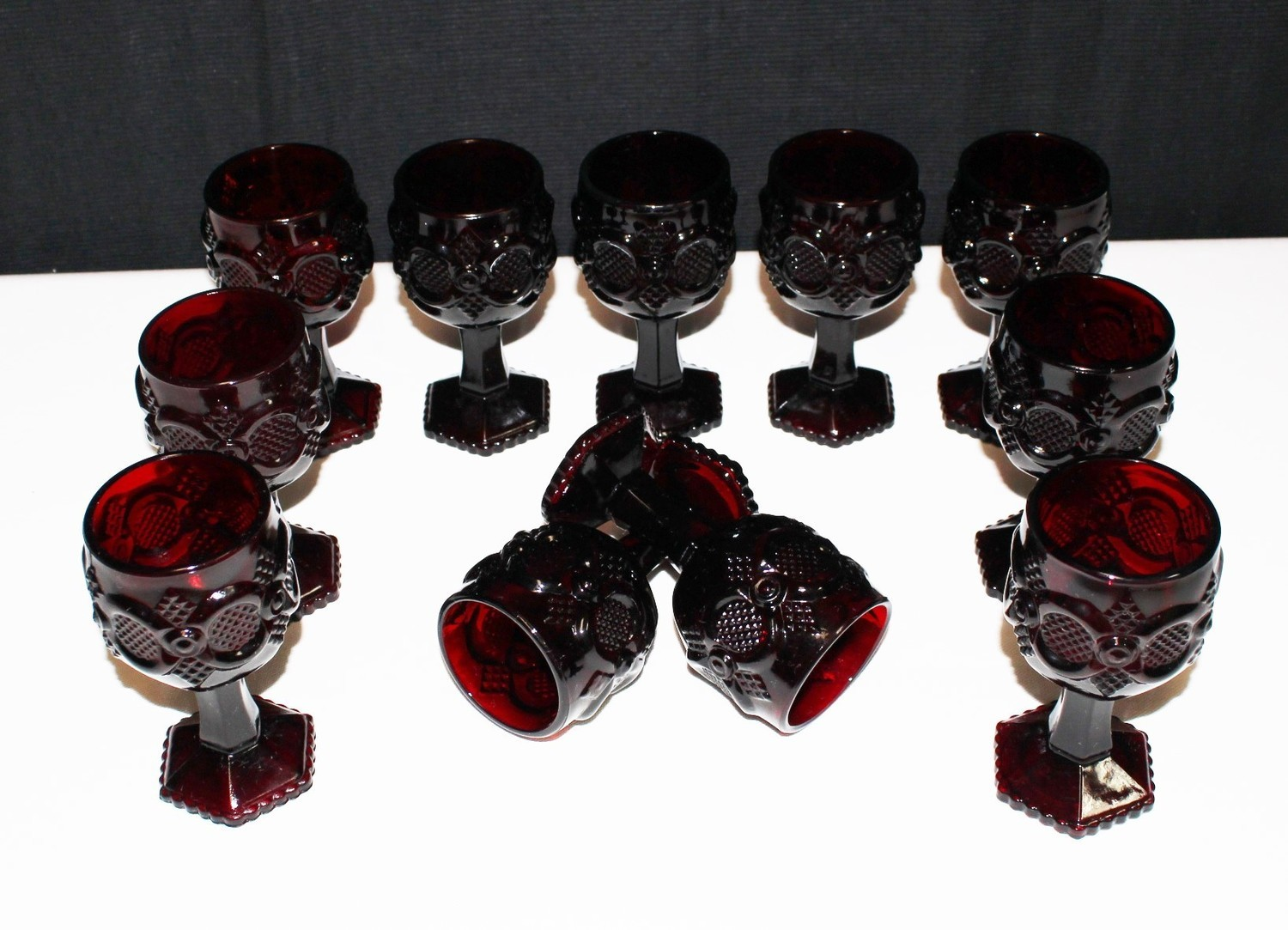 "AVON (Set of 11) Vintage Cape Cod Ruby Red Pressed Glass 4 5/8"" Wine Goblets"