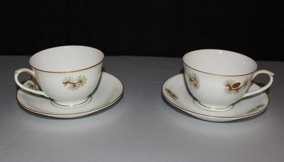 Set of 2 (4 Pieces) Fukagawa Arita Pine Needles Cones Cups w/ Saucer Plates #504