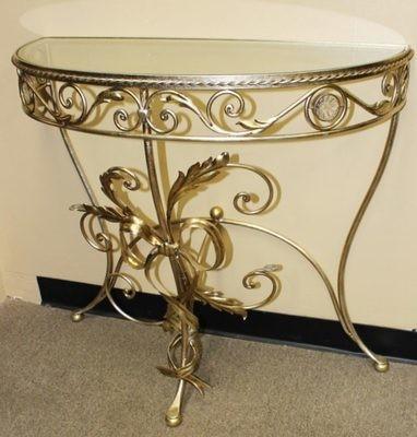 Vintage Hollywood Regency Ornate Gold Leaf Glass Top Crescent Console Table