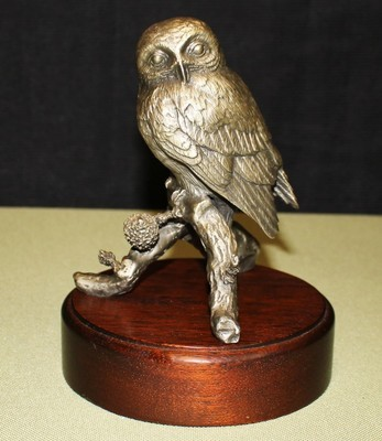 Irving Burgues 1976 Pygmy Owl Fine Pewter Sculpture Figurine on Wood Base Signed