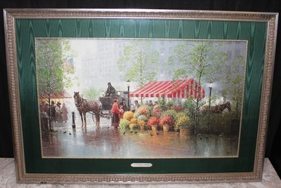 """G. Harvey 1991 """"A Touch of Spring"""" 41"""" x 28"""" Framed Print S/N 1570/3550 with COA"""