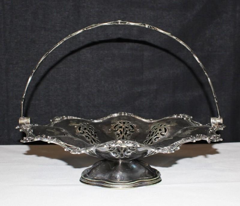Antique 1860's Victorian Silverplate Joseph Rogers Swing Handled Fruit Basket