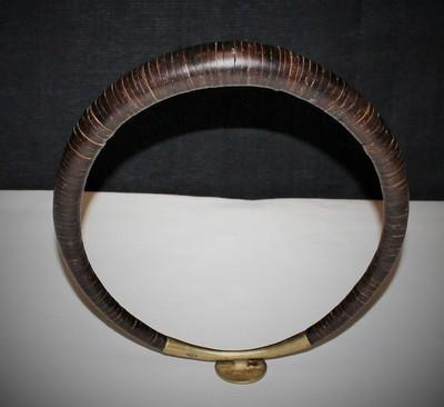 Nias Island Coconut and Brass Kalabubu Warrior Necklace, 20th Century