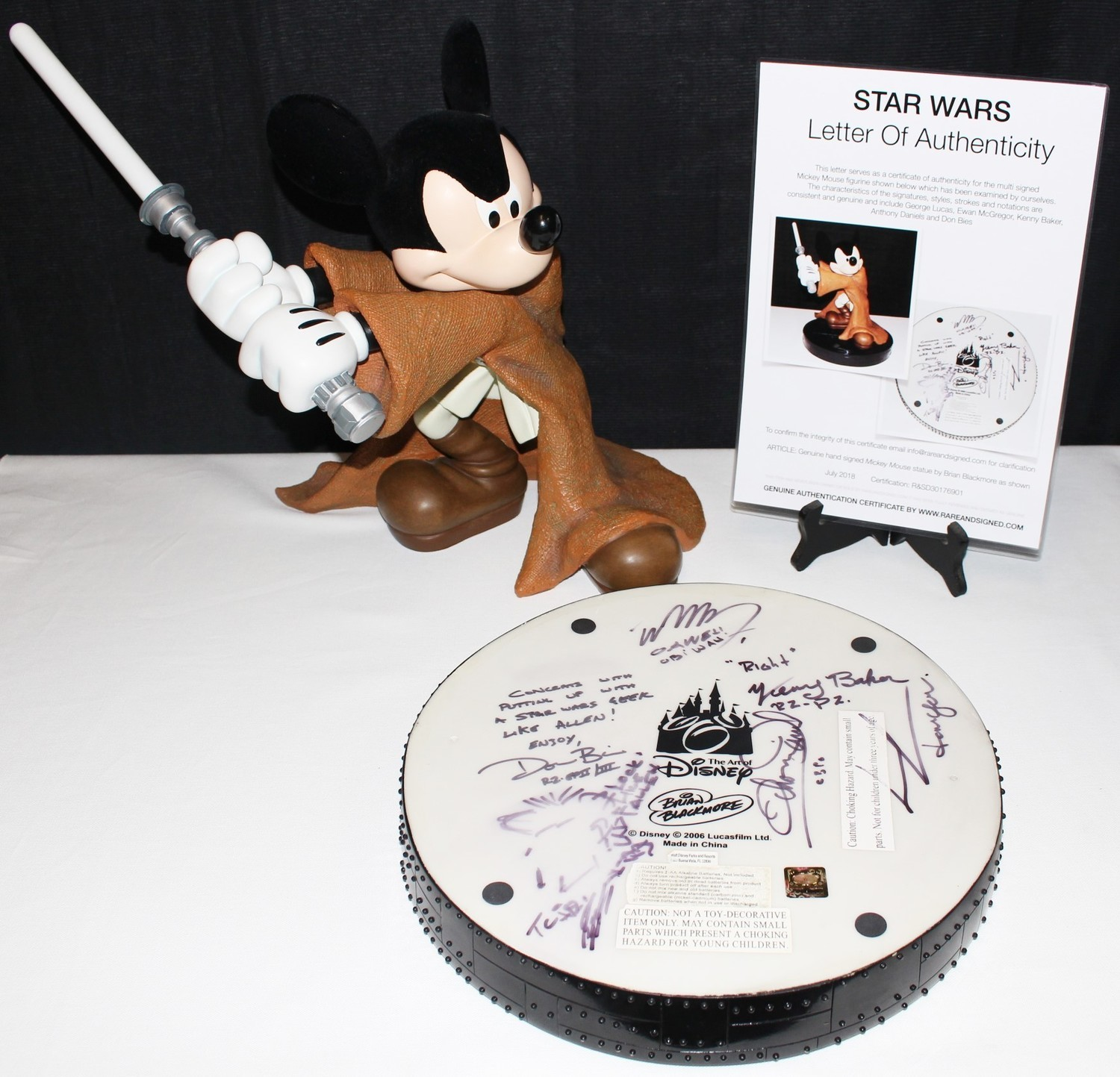 Mickey Mouse Jedi Knight Fig Statue SIGNED by Star Wars Cast Members