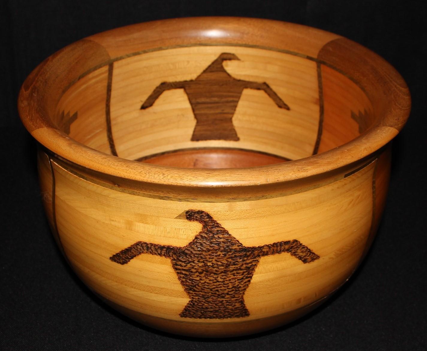 """ARTWOOD Gallery Mahogany, Maple & Wenge Cocobolo Rosewood 12"""" Bowl, Signed"""