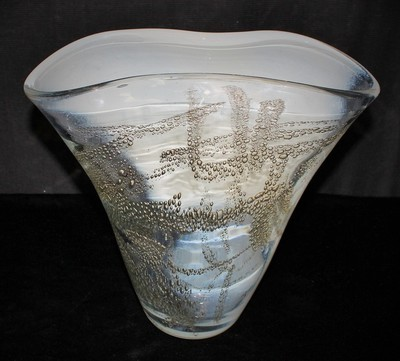 Elegant Hand Blown White/Clear Glass Gold Bubble Art Flared Vase, Signed
