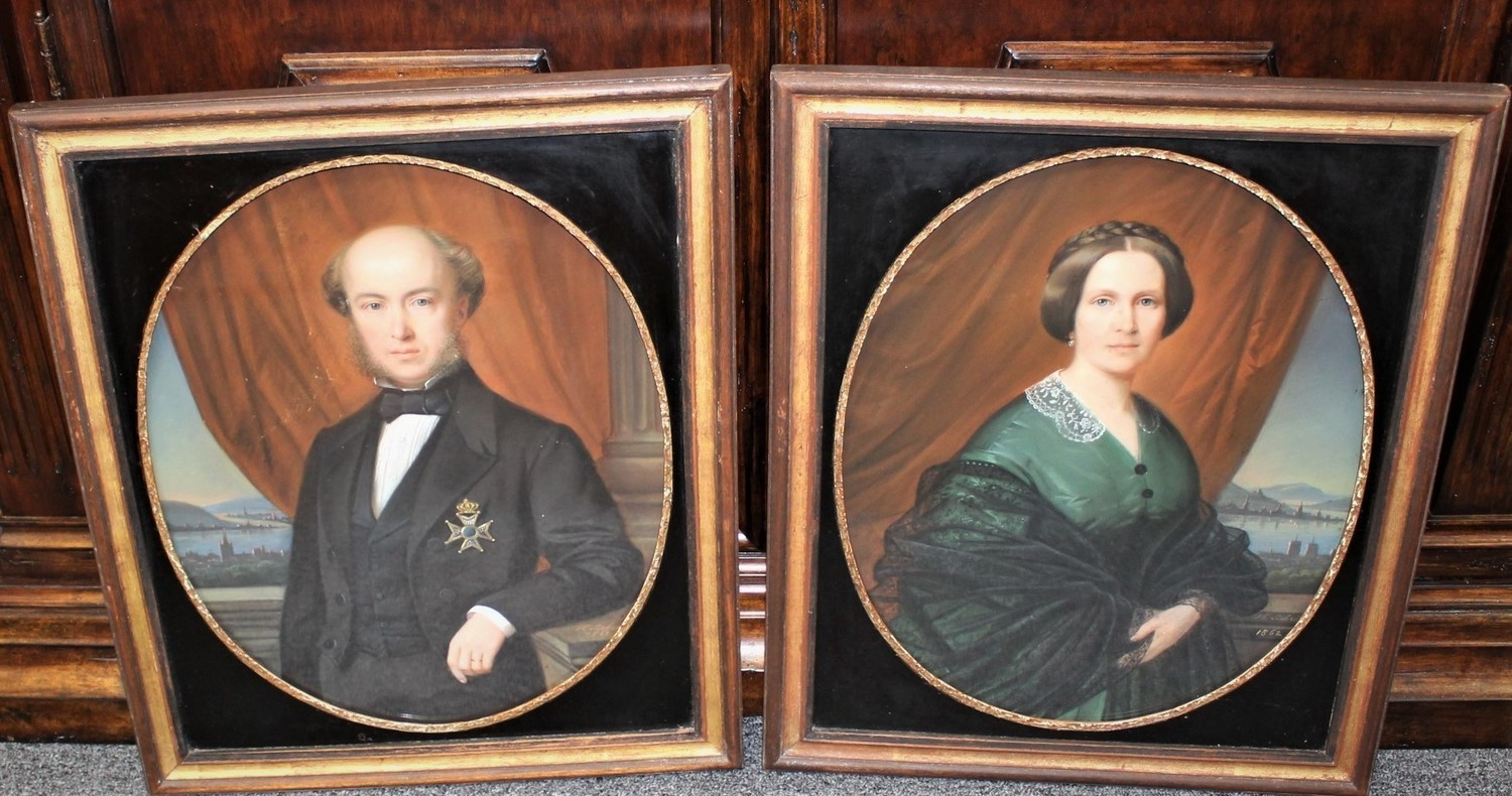 Pair of 1862 Heinrich Siebert Pastel Original Portraits of a Lady & Gentleman, Signed & Dated