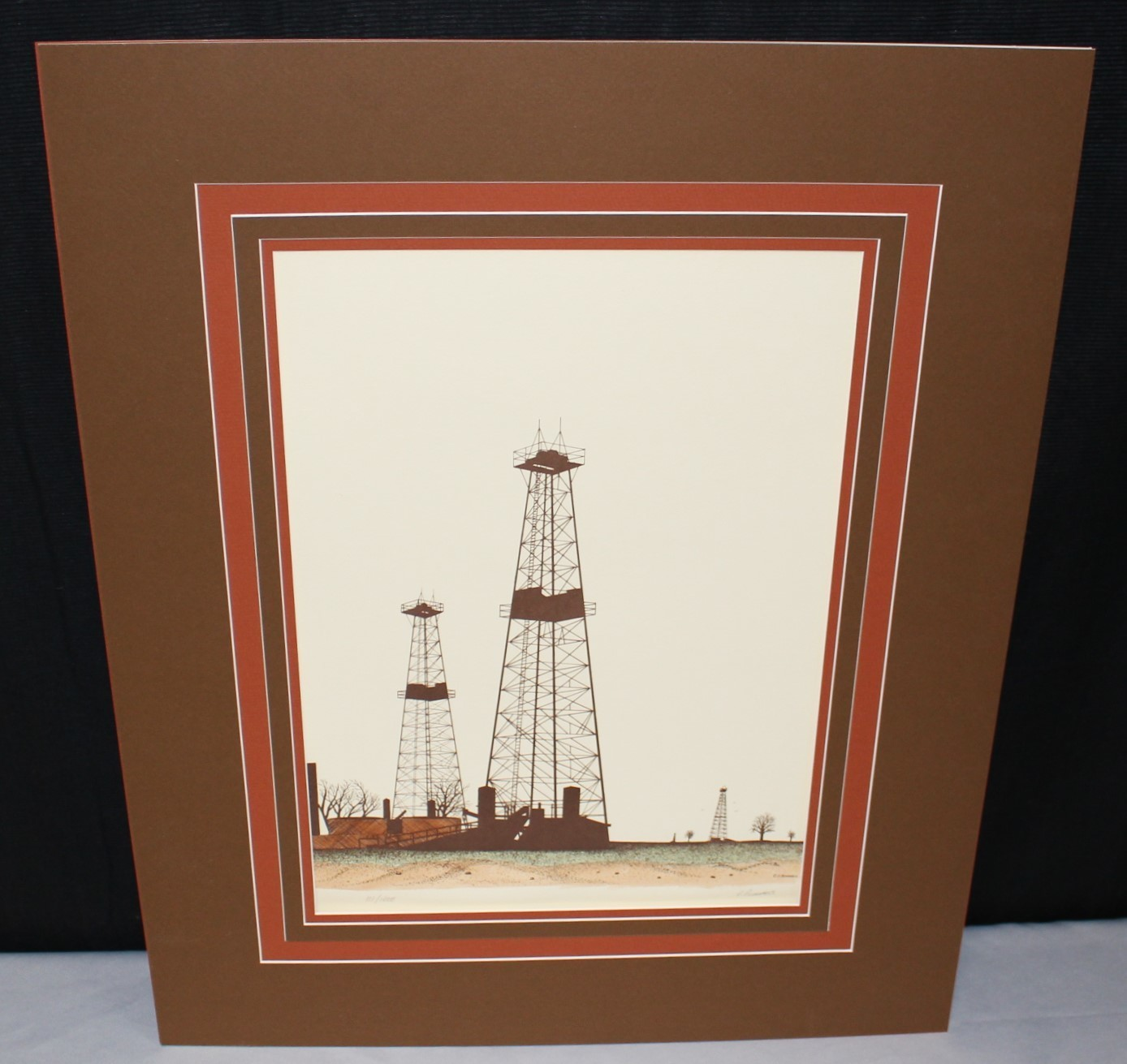R. Bumpass Oil Derrick Well Pump Petroleum Color Lithograph Signed & Numbered