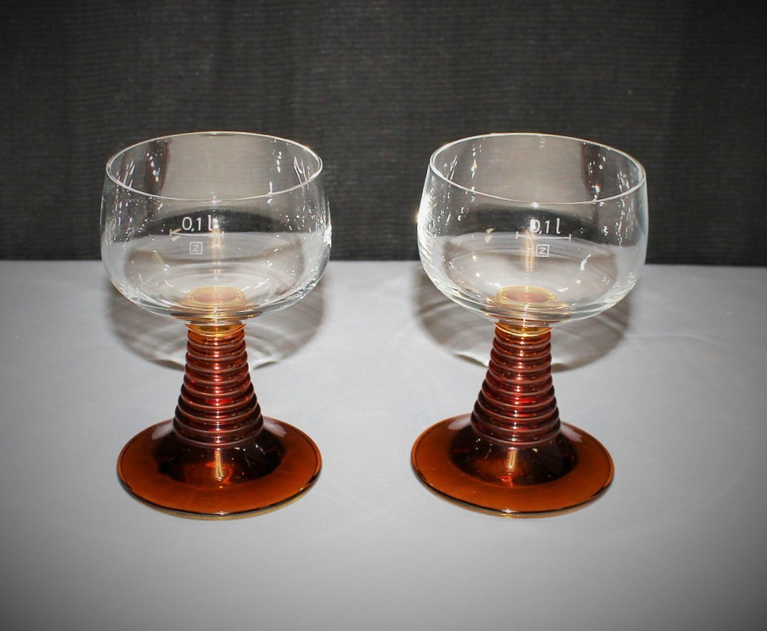 Pair of Schott Zwiesel Amber Behive Ribbed Stem Glass Goblets, Germany