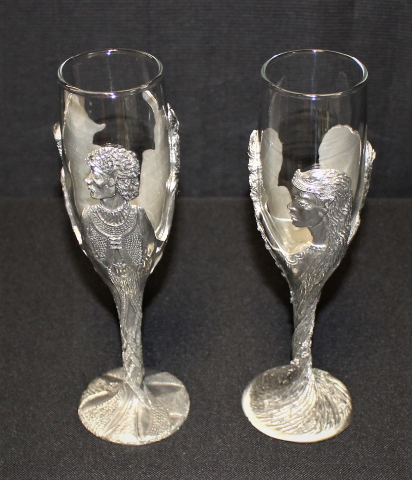 Set of 2 Lord of the Rings Royal Selangor Pewter & Glass Champagne Flutes