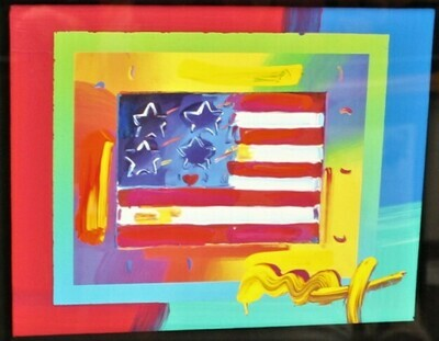 """PETER MAX """"Flag w/ Heart on Blends"""" Mixed Media Art on Paper Signed, COA"""