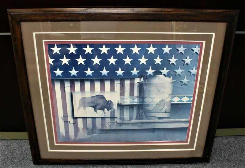 James Carter American Buffalo Fine Art 40 x 34 Framed Lithograph, Signed
