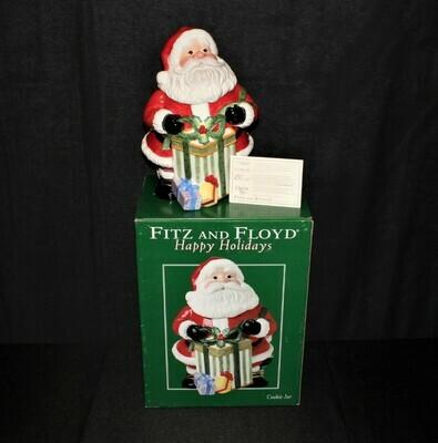2004 Fitz & Floyd Happy Holidays Santa Claus Cookie Jar w/ Original Box