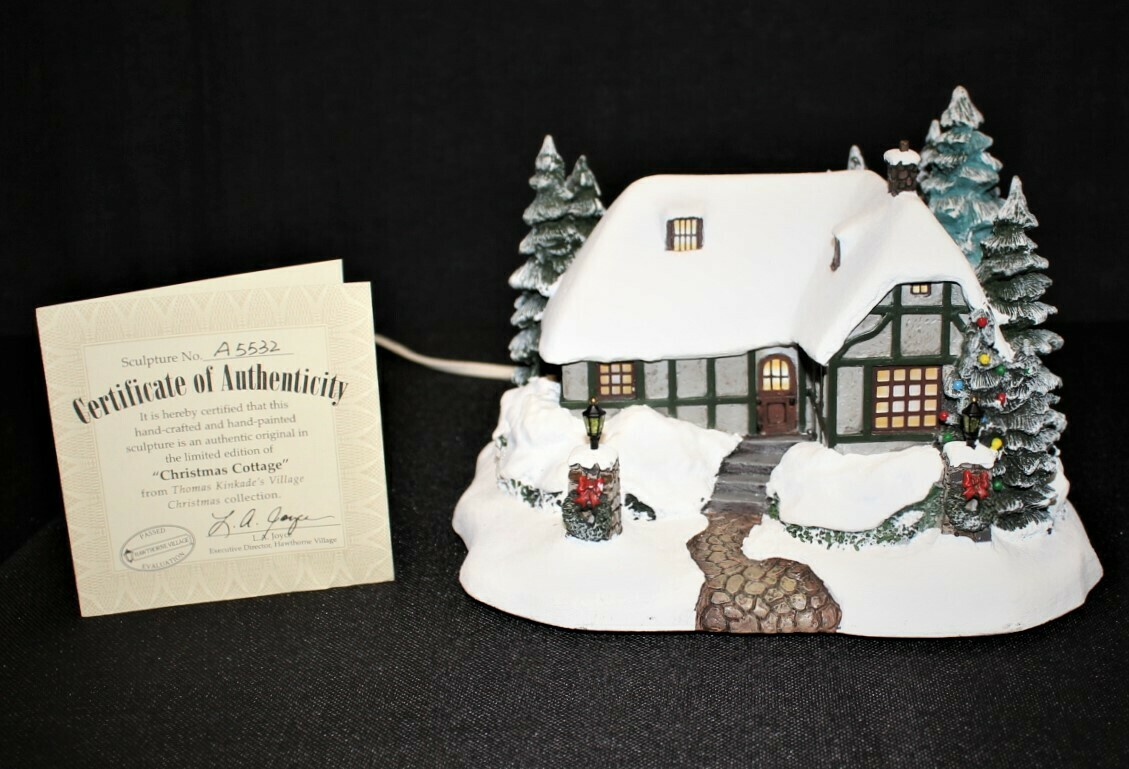 "​Thomas Kinkade 2002 ""Village Christmas Cottage"" Hawthorne Lamplight Light-Up House"
