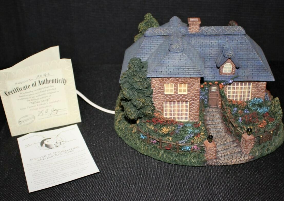 "Thomas Kinkade 2002 ""Tailor Shop"" Hawthorne Village Lamplight House"