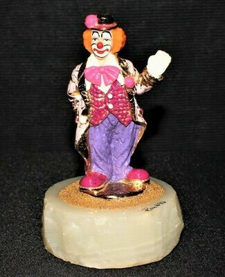 1996 Ron Lee Clown in Pink Coat & Bow 24kt Sculpture Figurine, Onyx Base Signed