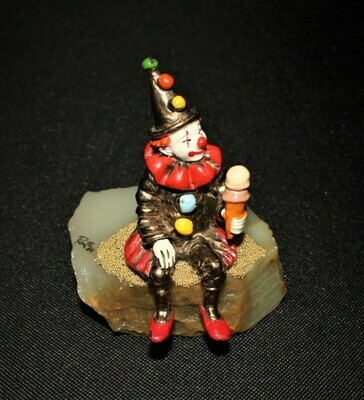 1984 Ron Lee Ice Cream Clown 24kt Sculpture Figurine #305 on Onyx Base, Signed