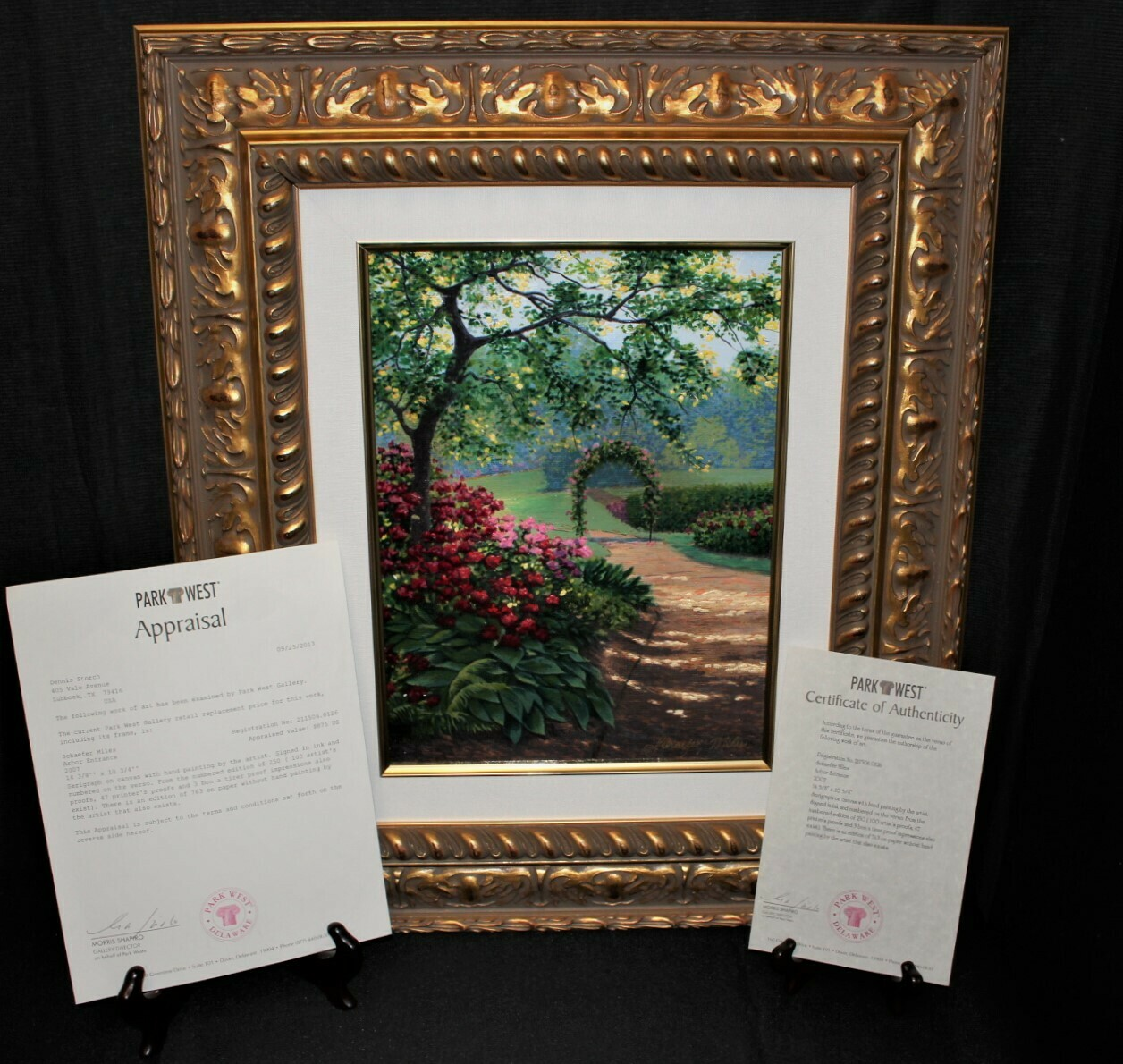Schaefer Miles Arbor Entrance Serigraph on Canvas Painting Limited 126/250, COA