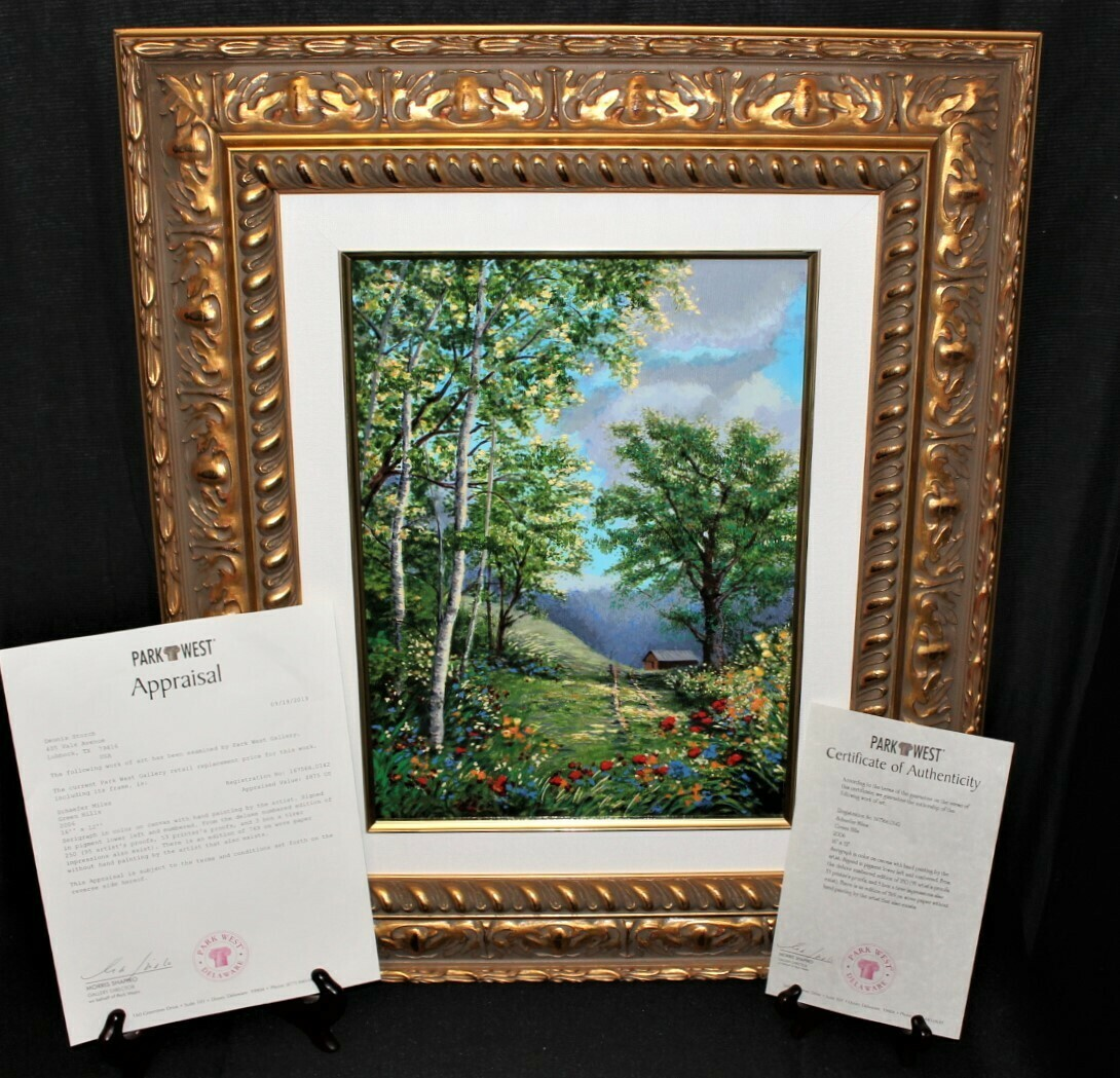 Schaefer Miles Green Hills Serigraph on Canvas Painting Limited 142/250, COA
